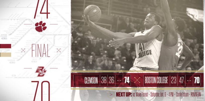 Boston College Falls to Clemson, 74-70